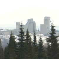 Les installations de la mine Westwood vues de loin, avec des épinettes noires devant.