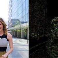 Deux photos. Sur celle de gauche, il est possible de voir une femme dans la rue. La photo de droite est la même, mais il y est impossible de reconnaître la femme à cause du filtre.
