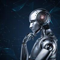 Un robot, l'air pensif.