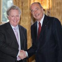 Jean Charest, premier ministre du Québec, et Jacques Chirac, président de la France, lors d'une rencontre à l'Élysée, en 2006.