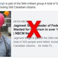 Nous voyons l'article, ainsi qu'une photo de Jagmeet Singh.