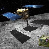 Représentation artistique de la sonde Hayabusa 2 recueillant un échantillon de matière sur l'astéroïde Ruygu.