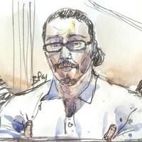 Dessin au crayon et à l'aquarelle du visage de Jawad Bendaoud.