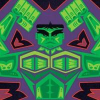 Des personnages dessinés dans un style évoquant l'art tribal.
