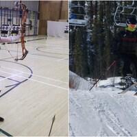 montage d'une athlète de tir à l'arc et d'un skieur