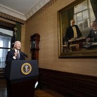 Joe Biden lors d'une allocution à la Maison-Blanche