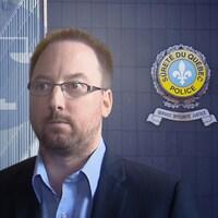 Montage avec la photo de Jonathan Bettez et le quartier général de la Sûreté du Québec.