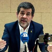 Le politicien Jordi Sanchez en conférence de presse.