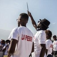 Des journalistes manifestant à Port-au-Prince.