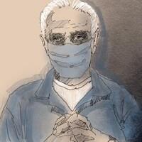 Esquisse de Jacques Delisle, un homme âgé aux cheveux blancs, qui porte un masque de couleur bleu.