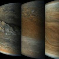 Séquence d'images captées par la sonde Juno et dont la couleur a été modifiée.