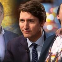 Le premier ministre du Canada, Justin Trudeau, le premier ministre de la Saskatchewan, Scott Moe, et le chef de la Première Nation Cowessess, Cadmus Delorme.