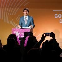 Le premier ministre Justin Trudeau s'exprime en point de presse à Lima.