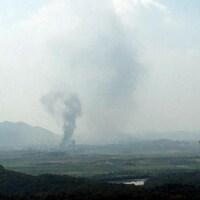 Une vue aérienne de Kaesong, en Corée du Nord, à partir de la Corée du Sud.