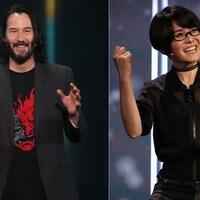 Montage photo réalisé à partir d'une image de Keanu Reeves sur scène et d'une image d'Ikumi Nakamura, sur scène aussi.