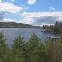 Une partie du lac Kénogami, entouré d'arbres
