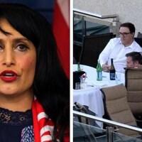 Deux images côte à côte. À gauche, la ministre Leela Aheer, à droite une photo montrant le dîner de Jason Kenney et de ses collègues.