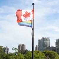 Deux drapeaux flottent.
