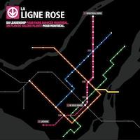 Une carte du métro de Montréal incluant un tracé préliminaire de la ligne rose.