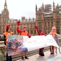 Des manifestants costumés en homard tiennent une grande bannière.