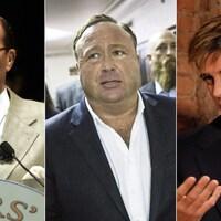 Un montage de trois photos représentant, dans l'ordre, Louis Farrakhan, Alex Jones et Milo Yiannopoulos.