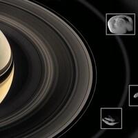 Cinq des lunes de Saturne