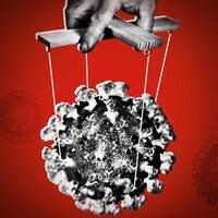 Une main qui contrôle un virus comme une marionnette.