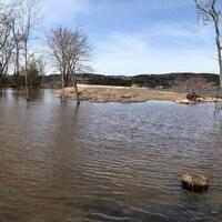 La crue du fleuve Saint-Jean sur un terrain de Grand Bay-Westfield.