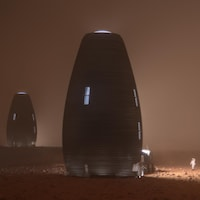 Image de synthèse d'un astronaute côtoyant un bâtiment aux allures de cocon de 4 étages, avec 2 autres habitats identiques en arrière-plan, sur Mars.