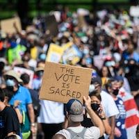 Des manifestants rassemblés à Washington.