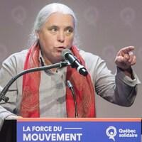 Manon Massé lors d'une allocution, en décembre 2018.