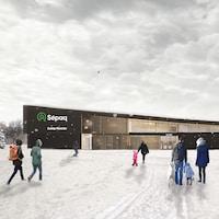 Une maquette du pavillon d'accueil du Camp Mercier, en hiver, avec des gens qui marchent vers l'entrée