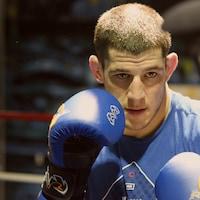 Marc-André Barriault à l'entrainement au club de boxe Empire, à Sainte-Foy.