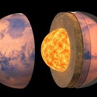 Illustration artistique de la structure interne de Mars dans laquelle il est possible de voir le noyau de plasma.