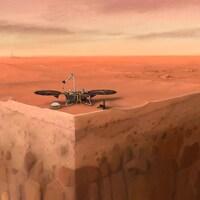 Un dessin montre une sonde dans une zone désertique.