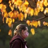 Une femme portant un masque passe sous un arbre aux feuilles dorées en automne, le 14 octobre 2020 à Moscou, en Russie.