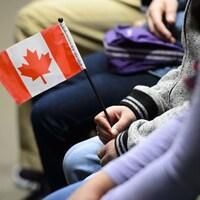 Plan rapproché d'un petit drapeau du Canada tenu dans une main.