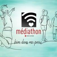 Affiche du Médiathon 2021 avec le slogan « Bien dans ma peau ».