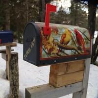 Trois boîtes aux lettres le long d'une route enneigée