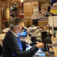 Le professeur est assis devant son microscope avec ses tiroirs à échantillons en arrière-plan