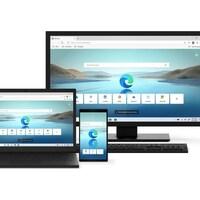 Un ordinateur portable, un ordinateur de bureau et un téléphone intelligent affichent une page web du navigateur Edge.