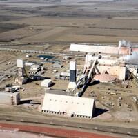 Vue aérienne de la mine de Vanscoy.
