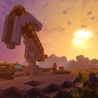 Une capture d'écran montrant un coucher de soleil dans Minecraft.