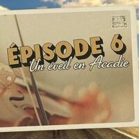 Carte postale illustrant l'épisode 6 de la série audio Mon Amérique. Gros plan sur un violon.
