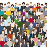 Un groupe de personnes masquées de toutes les couleurs.