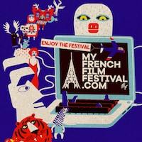 Affiche dessinée du festival MyFrenchFilmFestival.