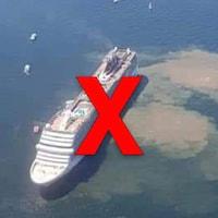 Il s'agit d'un immense navire de croisière, entouré d'effluves brunes.