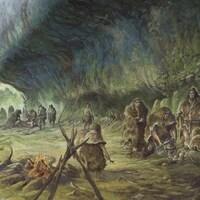 Reconstitution de l'enterrement de l'enfant par des Néandertaliens à La Ferrassie.