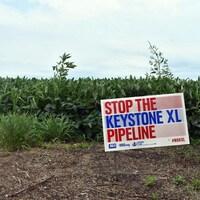 Une affiche anti-pipeline, avec le texte Stop the Keystone XL pipeline, sur une terre agricole