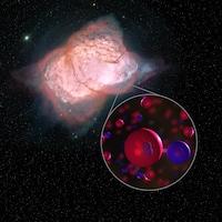 Illustration de la nébuleuse planétaire NGC 7027 et d'une molécule d'hydrure d'hélium.